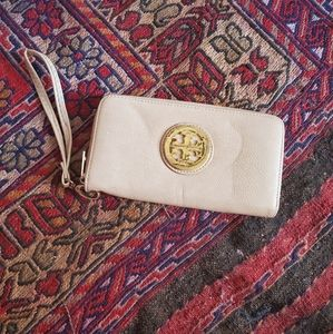 Tory Burch Taupe Wristlet